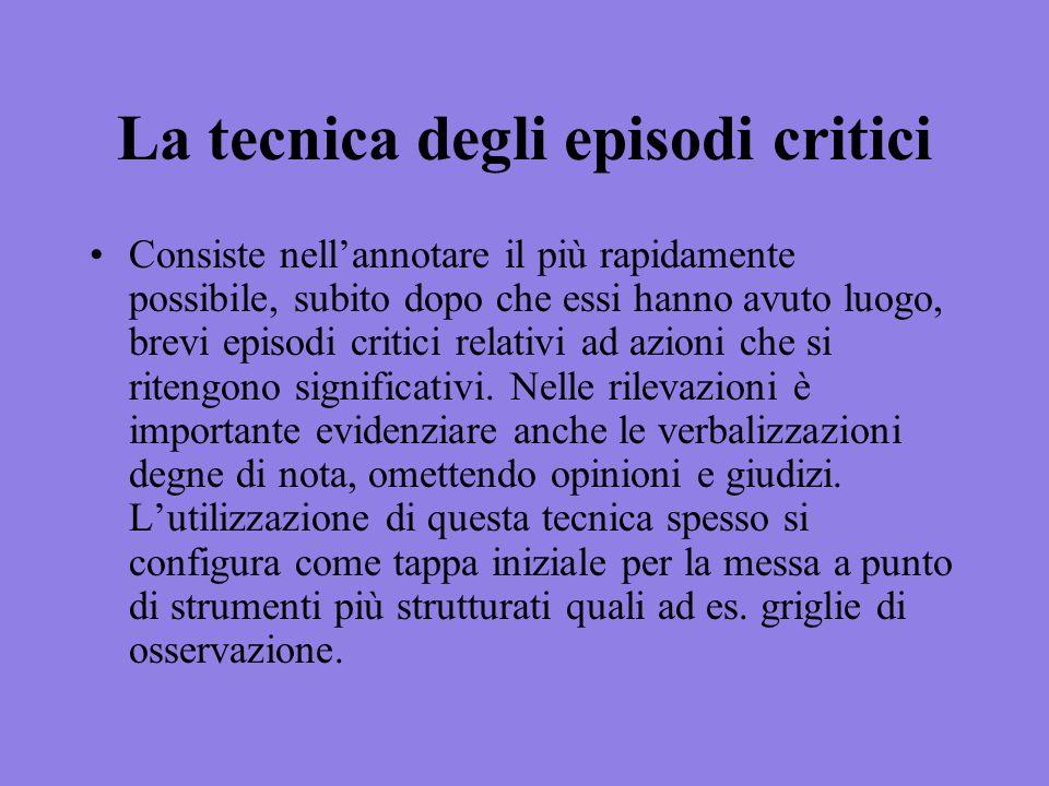 La tecnica degli episodi critici Consiste nellannotare il più rapidamente possibile, subito dopo che essi hanno avuto luogo, brevi episodi critici rel