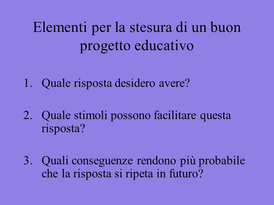 Elementi per la stesura di un buon progetto educativo 1.Quale risposta desidero avere? 2. Quale stimoli possono facilitare questa risposta? 3. Quali c