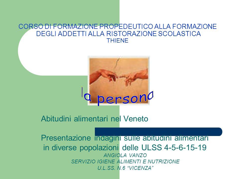 CORSO DI FORMAZIONE PROPEDEUTICO ALLA FORMAZIONE DEGLI ADDETTI ALLA RISTORAZIONE SCOLASTICA THIENE Abitudini alimentari nel Veneto Presentazione indag