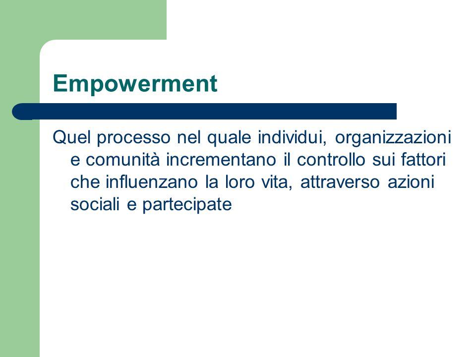 Empowerment Quel processo nel quale individui, organizzazioni e comunità incrementano il controllo sui fattori che influenzano la loro vita, attravers