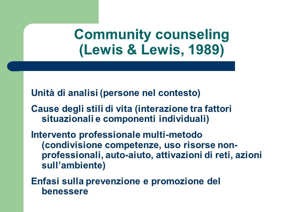 Community counseling (Lewis & Lewis, 1989) Unità di analisi (persone nel contesto) Cause degli stili di vita (interazione tra fattori situazionali e c