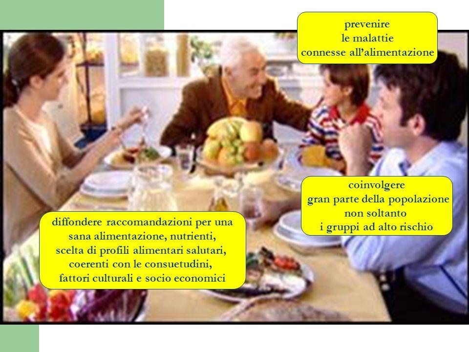 prevenire le malattie connesse allalimentazione coinvolgere gran parte della popolazione non soltanto i gruppi ad alto rischio diffondere raccomandazi