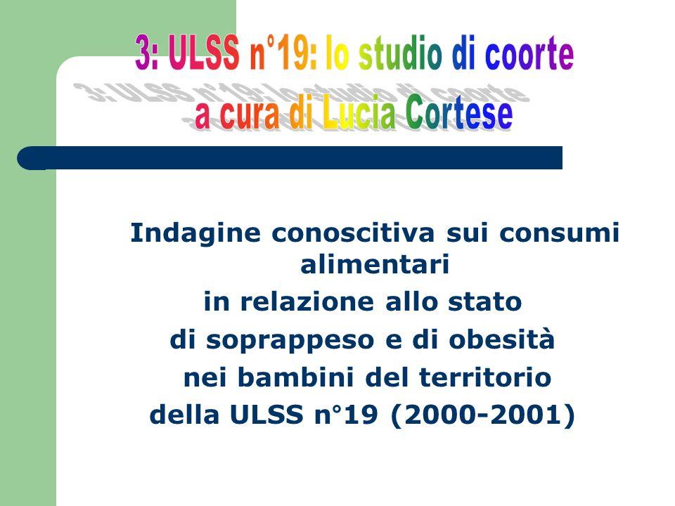 Indagine conoscitiva sui consumi alimentari in relazione allo stato di soprappeso e di obesità nei bambini del territorio della ULSS n°19 (2000-2001)