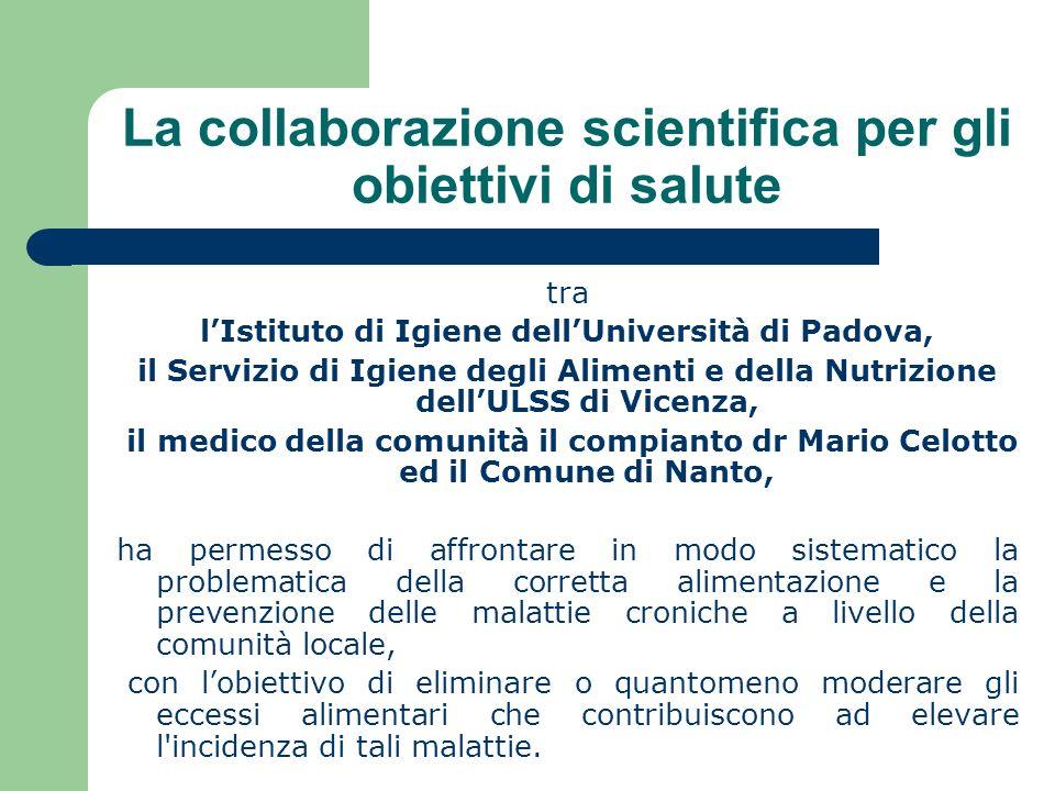 La collaborazione scientifica per gli obiettivi di salute tra lIstituto di Igiene dellUniversità di Padova, il Servizio di Igiene degli Alimenti e del