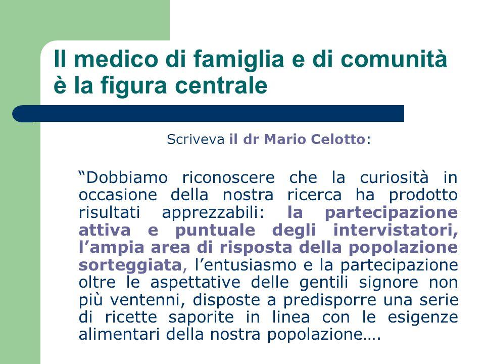 Il medico di famiglia e di comunità è la figura centrale Scriveva il dr Mario Celotto: Dobbiamo riconoscere che la curiosità in occasione della nostra