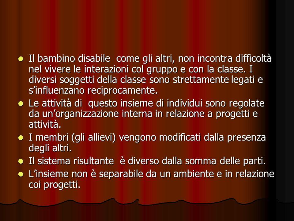 Il bambino disabile come gli altri, non incontra difficoltà nel vivere le interazioni col gruppo e con la classe.