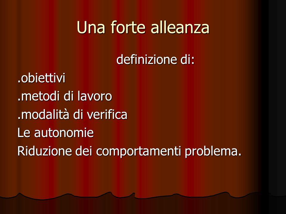 Una forte alleanza definizione di: definizione di:.obiettivi.metodi di lavoro.modalità di verifica Le autonomie Riduzione dei comportamenti problema.