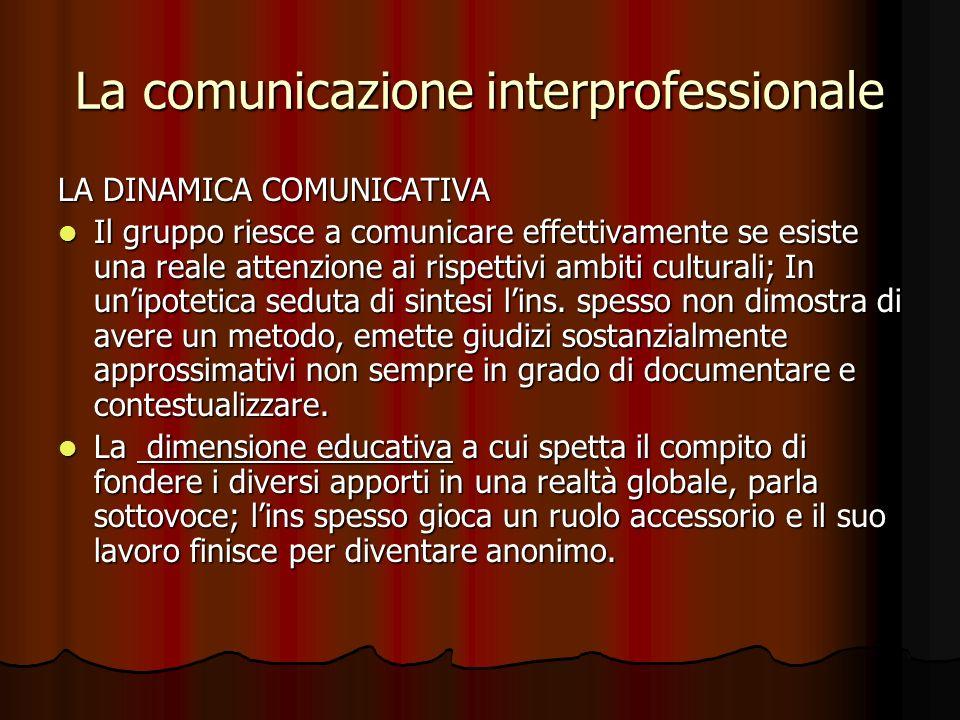 La comunicazione interprofessionale LA DINAMICA COMUNICATIVA Il gruppo riesce a comunicare effettivamente se esiste una reale attenzione ai rispettivi ambiti culturali; In unipotetica seduta di sintesi lins.