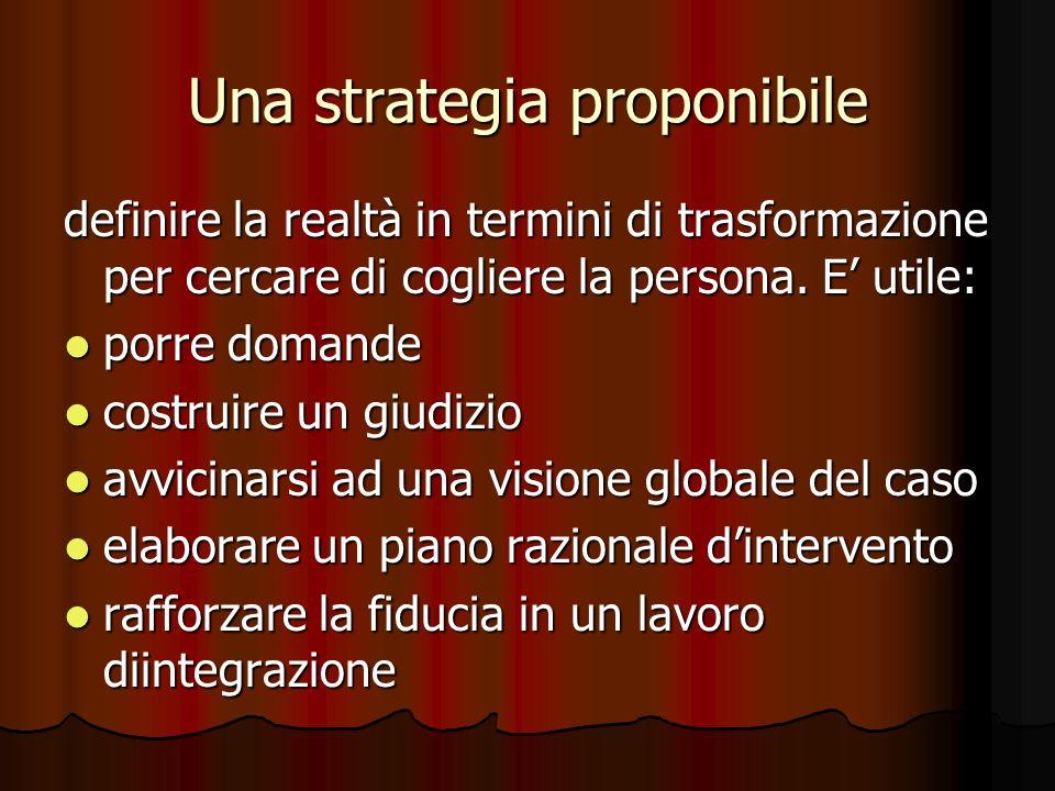 Una strategia proponibile definire la realtà in termini di trasformazione per cercare di cogliere la persona.