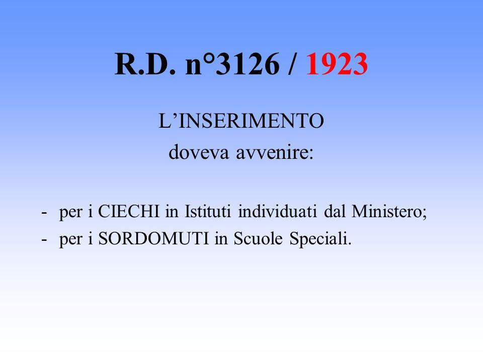 R.D. n°3126 / 1923 LINSERIMENTO doveva avvenire: -per i CIECHI in Istituti individuati dal Ministero; -per i SORDOMUTI in Scuole Speciali.