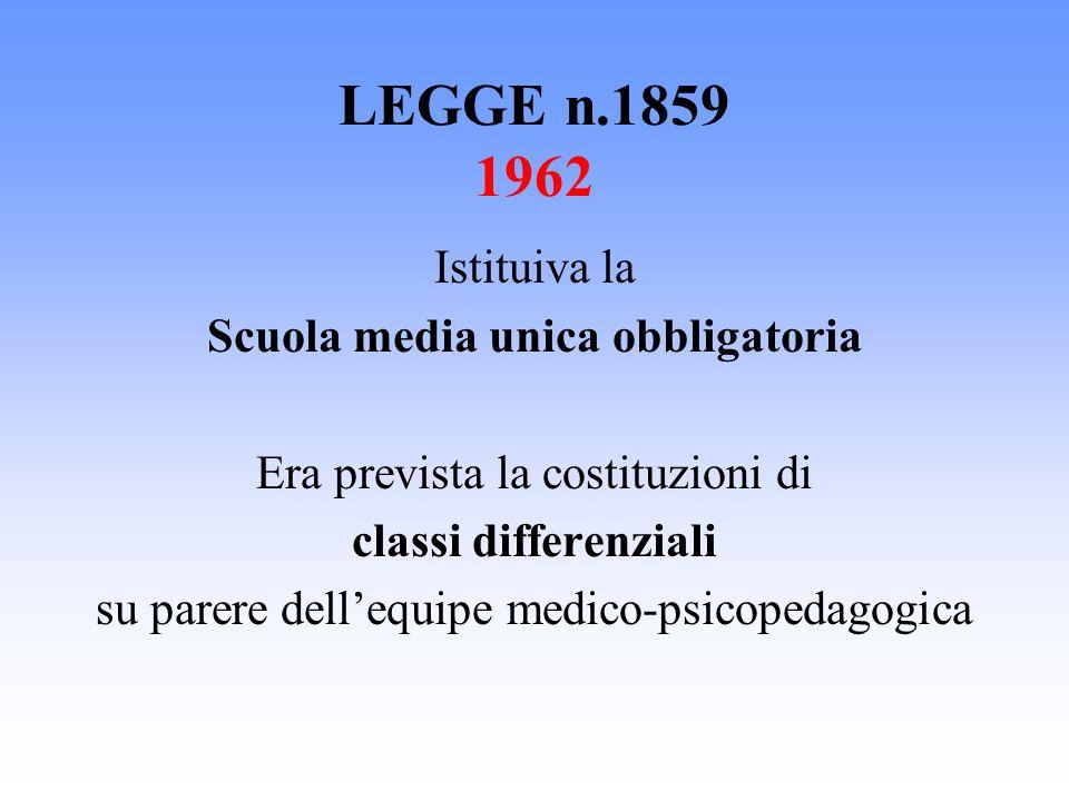 LEGGE n.1859 1962 Istituiva la Scuola media unica obbligatoria Era prevista la costituzioni di classi differenziali su parere dellequipe medico-psicop