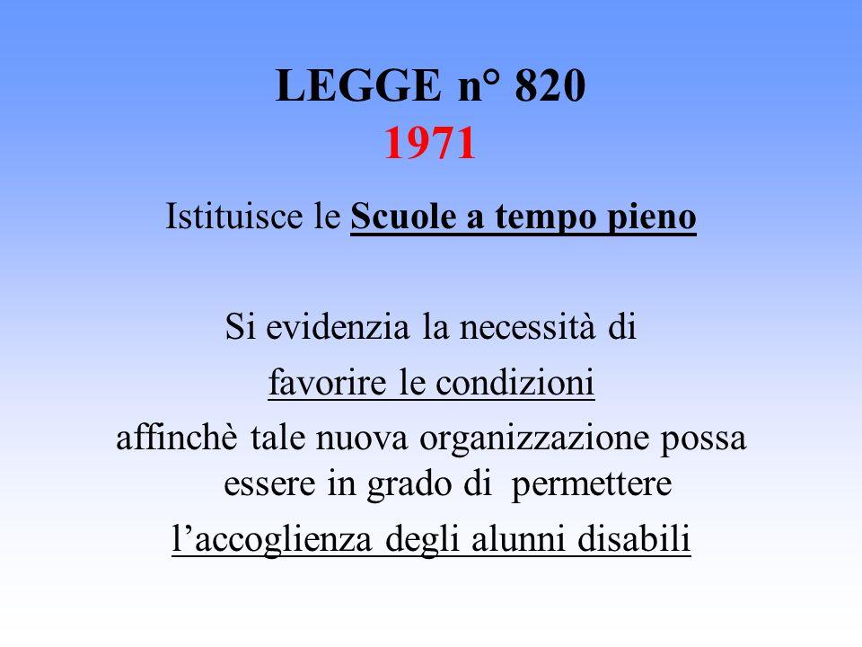 LEGGE n° 820 1971 Istituisce le Scuole a tempo pieno Si evidenzia la necessità di favorire le condizioni affinchè tale nuova organizzazione possa esse