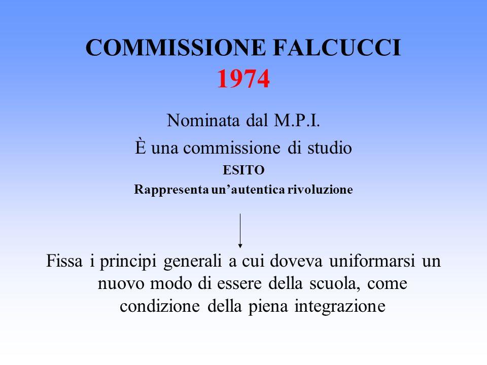 COMMISSIONE FALCUCCI 1974 Nominata dal M.P.I. È una commissione di studio ESITO Rappresenta unautentica rivoluzione Fissa i principi generali a cui do
