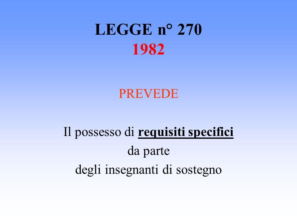 LEGGE n° 270 1982 PREVEDE Il possesso di requisiti specifici da parte degli insegnanti di sostegno