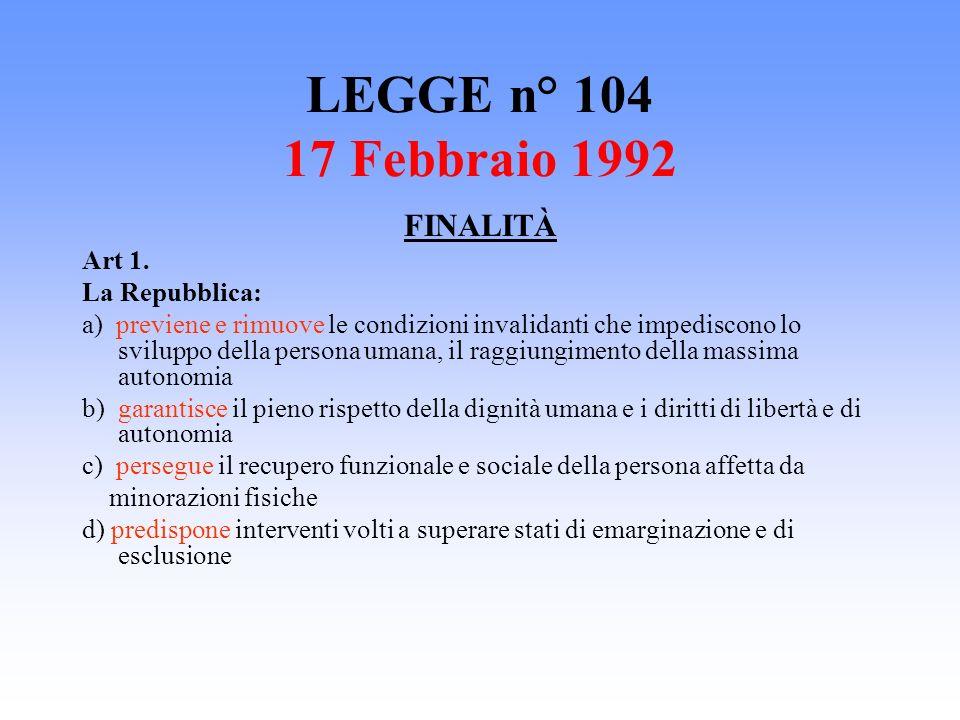 LEGGE n° 104 17 Febbraio 1992 FINALITÀ Art 1. La Repubblica: a) previene e rimuove le condizioni invalidanti che impediscono lo sviluppo della persona