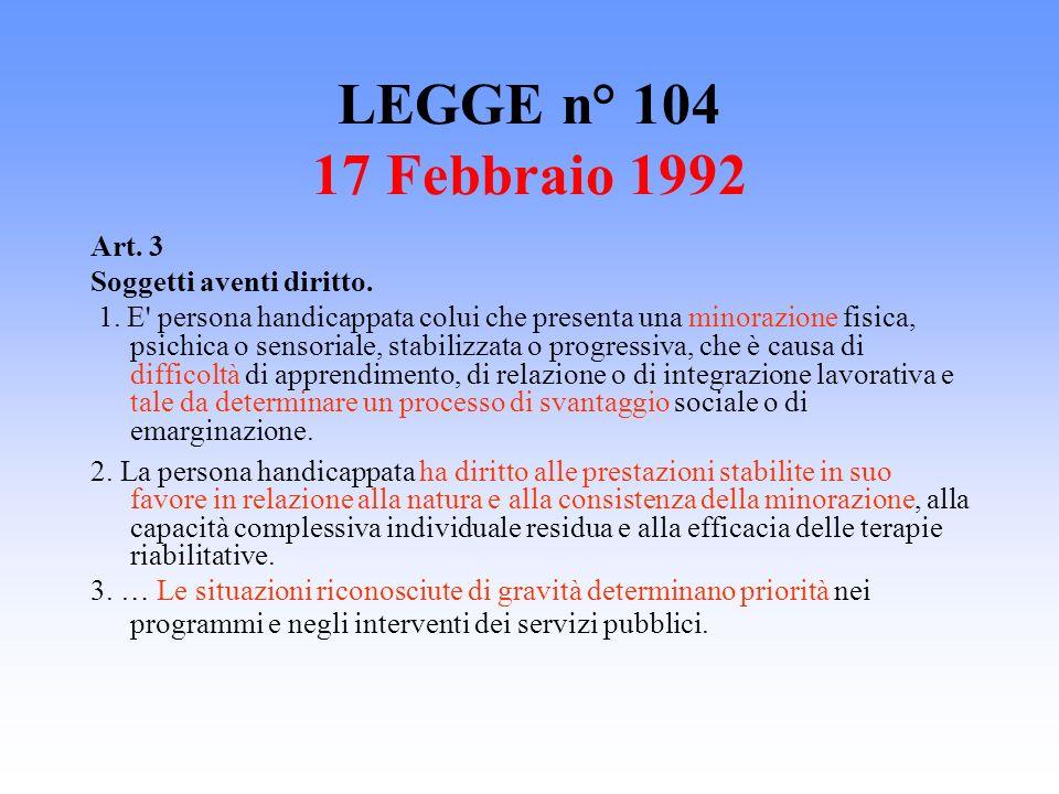 LEGGE n° 104 17 Febbraio 1992 Art. 3 Soggetti aventi diritto. 1. E' persona handicappata colui che presenta una minorazione fisica, psichica o sensori