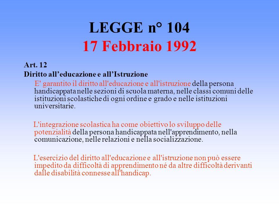 LEGGE n° 104 17 Febbraio 1992 Art. 12 Diritto alleducazione e allIstruzione E' garantito il diritto all'educazione e all'istruzione della persona hand