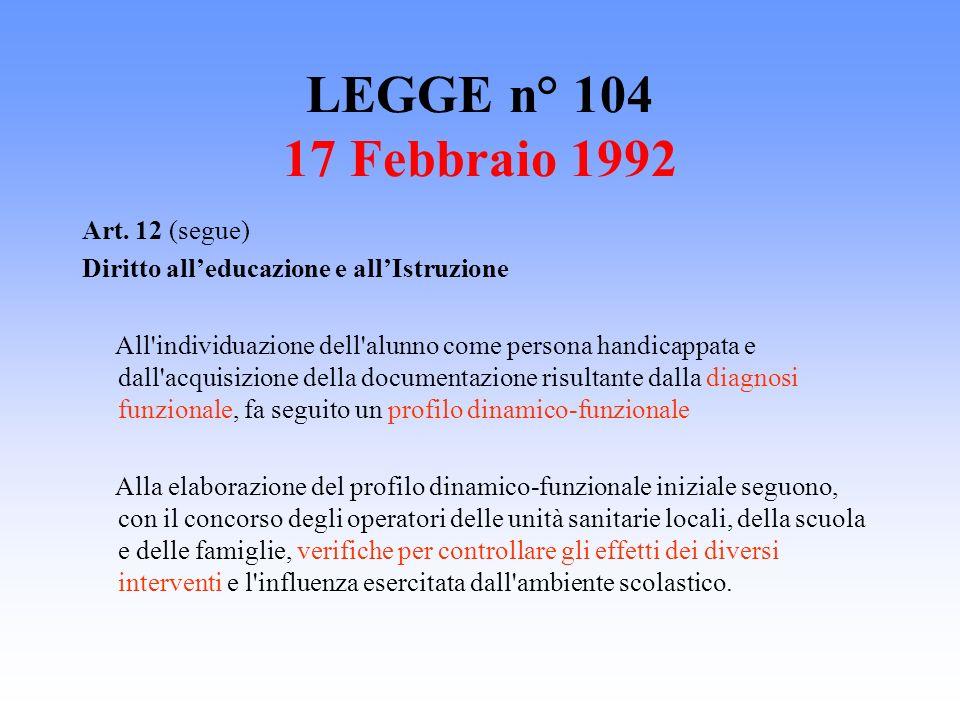 LEGGE n° 104 17 Febbraio 1992 Art. 12 (segue) Diritto alleducazione e allIstruzione All'individuazione dell'alunno come persona handicappata e dall'ac