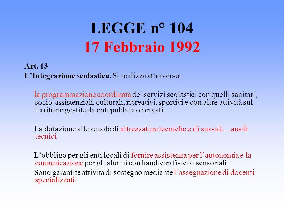 LEGGE n° 104 17 Febbraio 1992 Art. 13 LIntegrazione scolastica. Si realizza attraverso: la programmazione coordinata dei servizi scolastici con quelli