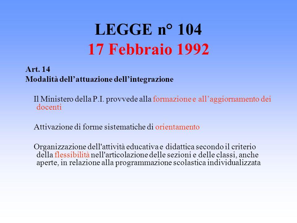 LEGGE n° 104 17 Febbraio 1992 Art. 14 Modalità dellattuazione dellintegrazione Il Ministero della P.I. provvede alla formazione e allaggiornamento dei