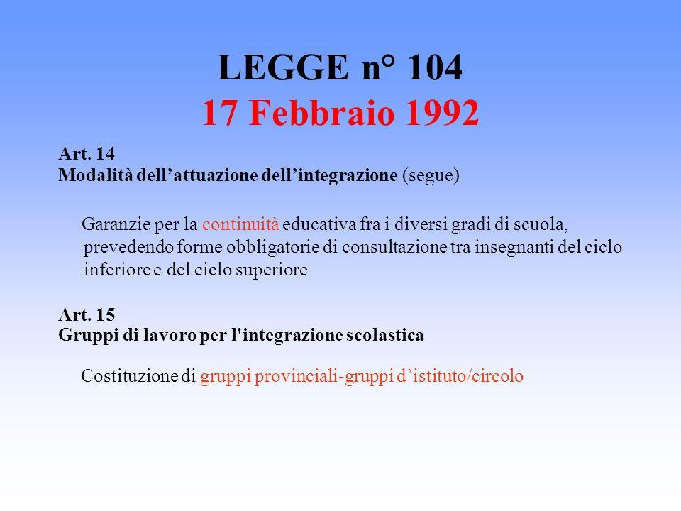 LEGGE n° 104 17 Febbraio 1992 Art. 14 Modalità dellattuazione dellintegrazione (segue) Garanzie per la continuità educativa fra i diversi gradi di scu