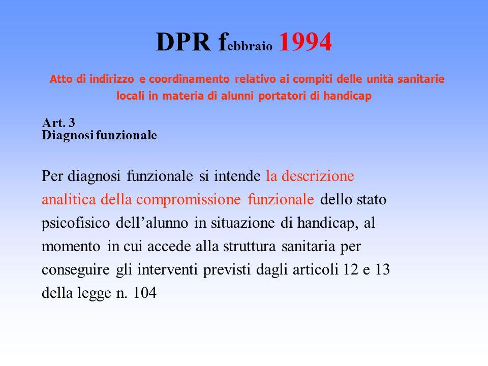 DPR f ebbraio 1994 Atto di indirizzo e coordinamento relativo ai compiti delle unità sanitarie locali in materia di alunni portatori di handicap Art.