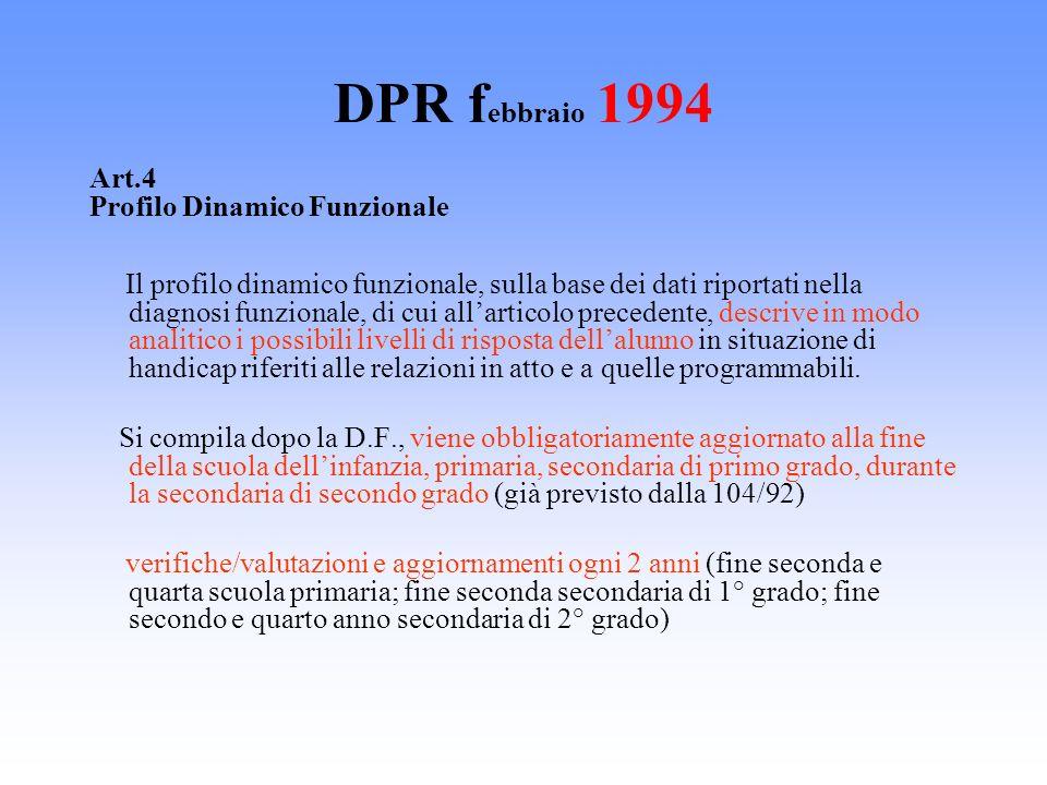 DPR f ebbraio 1994 Art.4 Profilo Dinamico Funzionale Il profilo dinamico funzionale, sulla base dei dati riportati nella diagnosi funzionale, di cui a