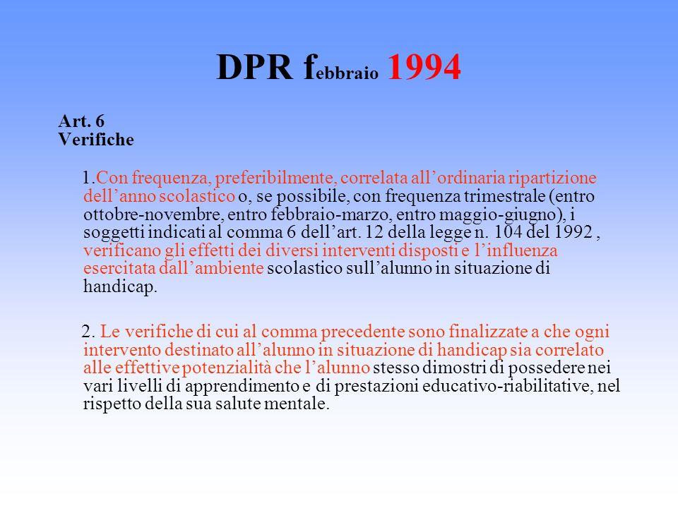 DPR f ebbraio 1994 Art. 6 Verifiche 1.Con frequenza, preferibilmente, correlata allordinaria ripartizione dellanno scolastico o, se possibile, con fre