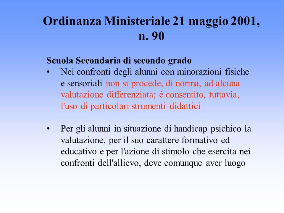 Ordinanza Ministeriale 21 maggio 2001, n. 90 Scuola Secondaria di secondo grado Nei confronti degli alunni con minorazioni fisiche e sensoriali non si