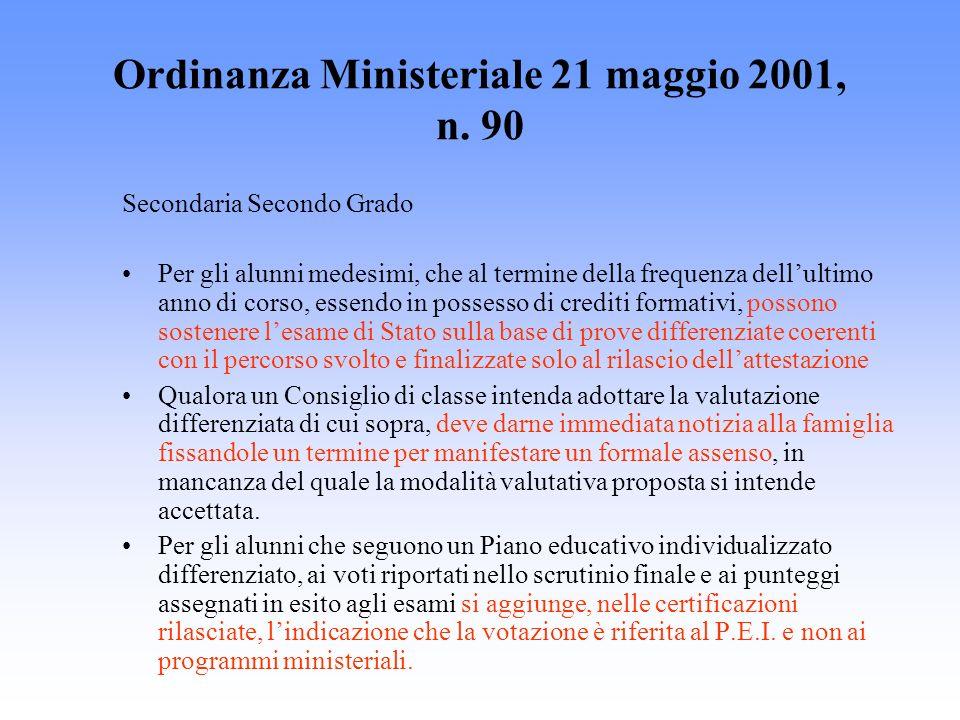 Ordinanza Ministeriale 21 maggio 2001, n. 90 Secondaria Secondo Grado Per gli alunni medesimi, che al termine della frequenza dellultimo anno di corso