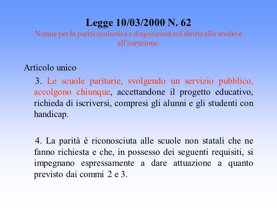 Legge 10/03/2000 N. 62 Norme per la parità scolastica e disposizioni sul diritto allo studio e all'istruzione. Articolo unico 3. Le scuole paritarie,