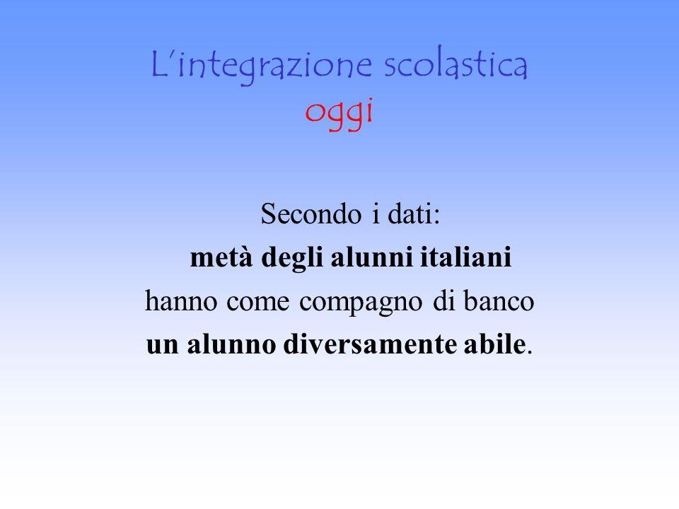 Lintegrazione scolastica oggi Secondo i dati: metà degli alunni italiani hanno come compagno di banco un alunno diversamente abile.