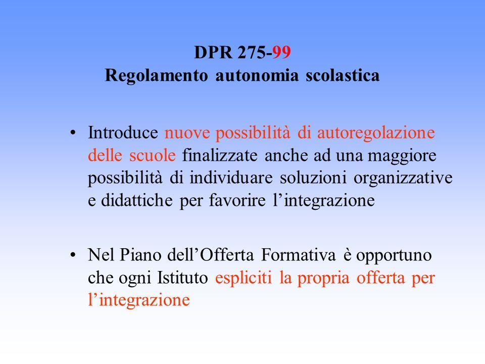 DPR 275-99 Regolamento autonomia scolastica Introduce nuove possibilità di autoregolazione delle scuole finalizzate anche ad una maggiore possibilità
