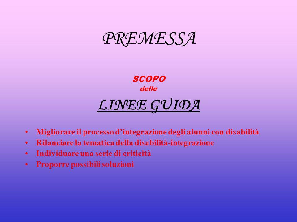 PREMESSA SCOPO delle LINEE GUIDA Migliorare il processo dintegrazione degli alunni con disabilità Rilanciare la tematica della disabilità-integrazione