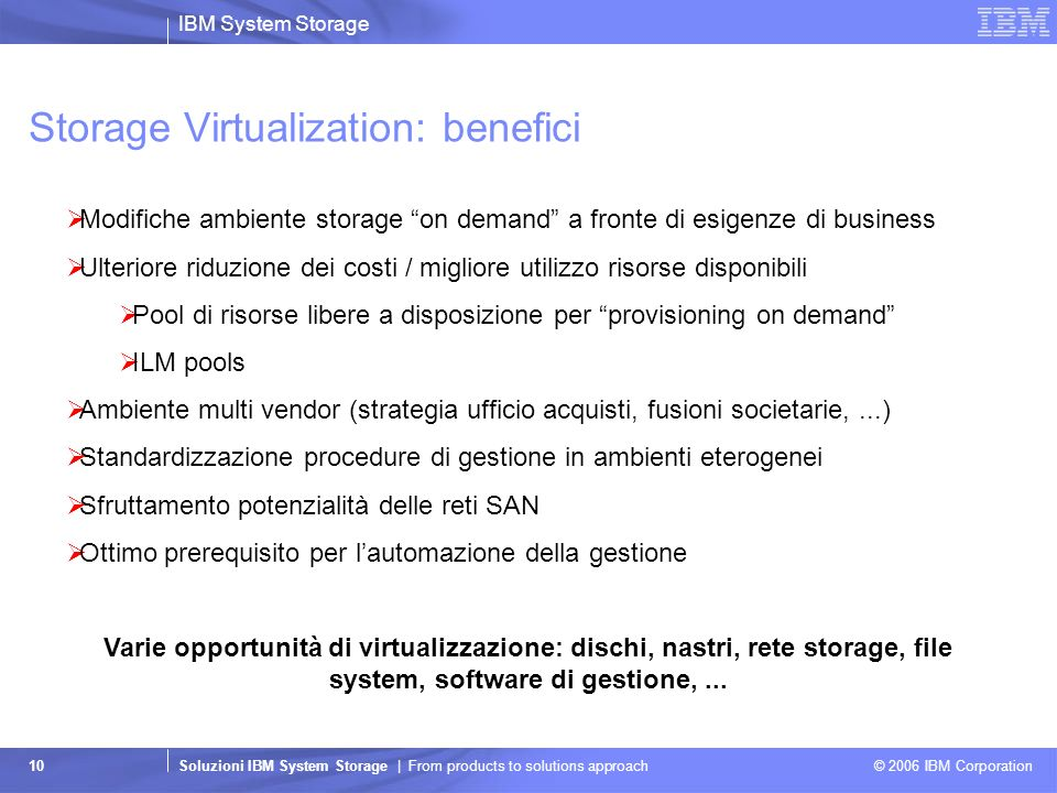 IBM System Storage Soluzioni IBM System Storage | From products to solutions approach © 2006 IBM Corporation 10 Storage Virtualization: benefici Modif