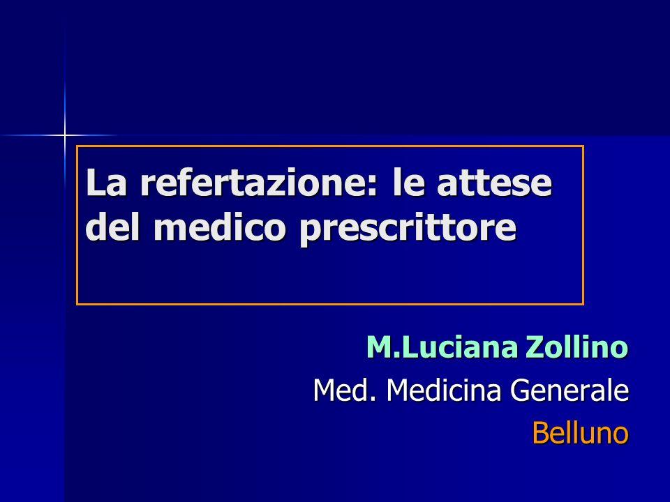 La refertazione: le attese del medico prescrittore M.Luciana Zollino Med. Medicina Generale Belluno