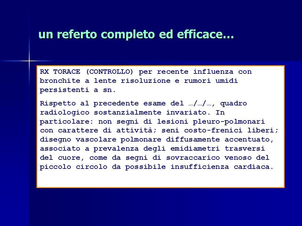 RX TORACE (CONTROLLO) per recente influenza con bronchite a lente risoluzione e rumori umidi persistenti a sn.