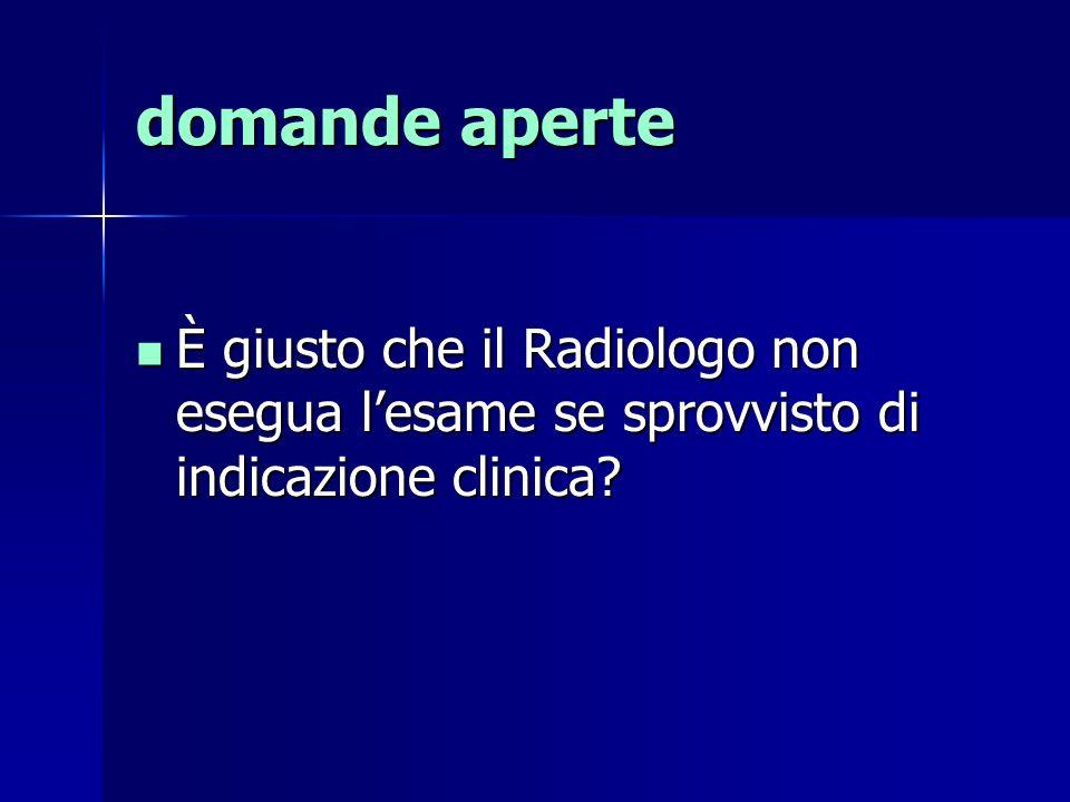 È giusto che il Radiologo non esegua lesame se sprovvisto di indicazione clinica.