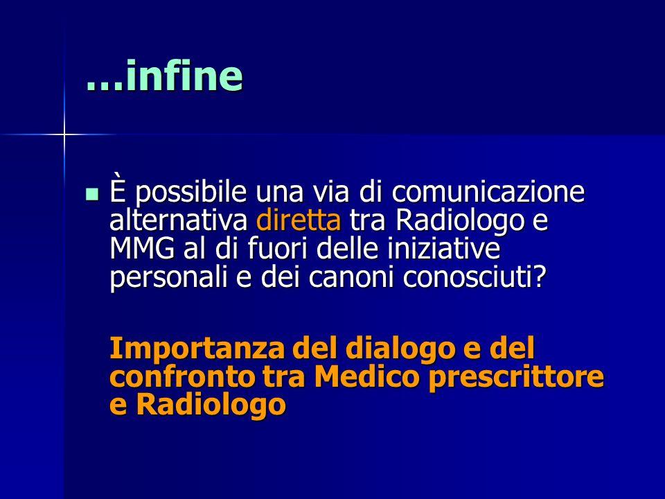 È possibile una via di comunicazione alternativa diretta tra Radiologo e MMG al di fuori delle iniziative personali e dei canoni conosciuti.