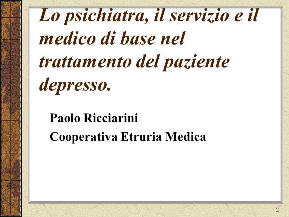 3 I numeri della depressione in Italia In Italia almeno 1,5 milioni di persone soffrono di depressione 10% della popolazione italiana, cioè circa 6 milioni di persone, hanno sofferto almeno una volta, nel corso della loro vita, di un episodio depressivo.