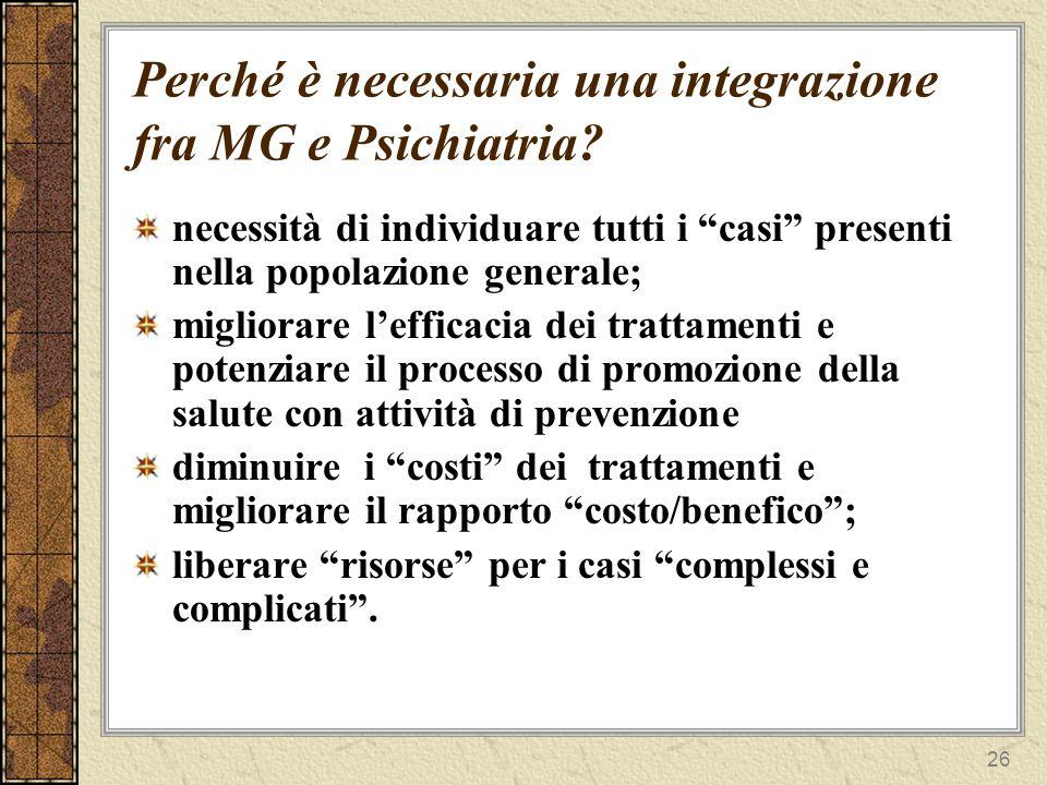 27 Perché è necessaria una integrazione fra MG e Psichiatria.