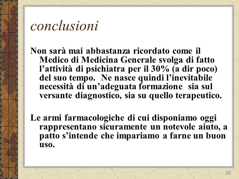 40 conclusioni Ma il farmaco più importante resta (come affermava Balint) il medico stesso; anche se paradossalmente è il farmacodi cui conosciamo meno bene la posologia e gli effetti collaterali.