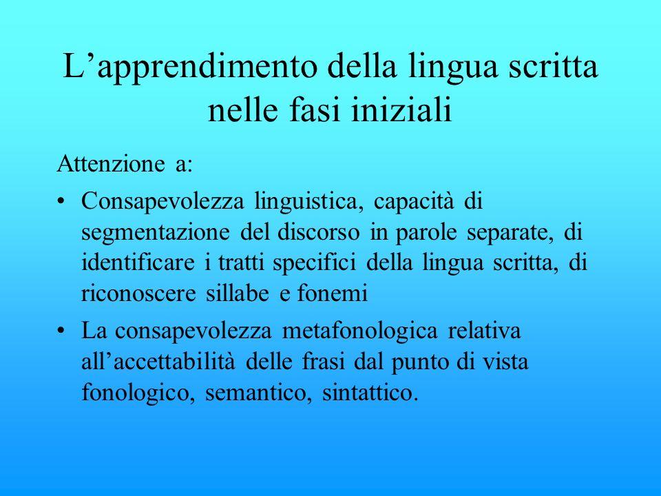 Lapprendimento della lingua scritta nelle fasi iniziali Attenzione a: Consapevolezza linguistica, capacità di segmentazione del discorso in parole sep