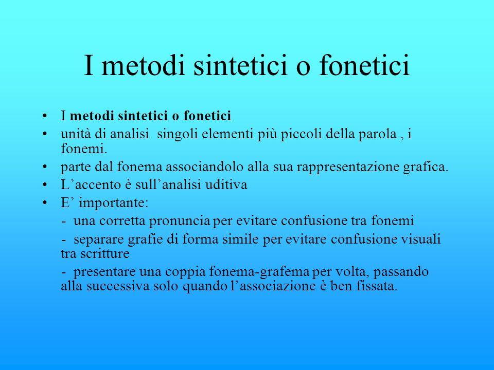 I metodi sintetici o fonetici unità di analisi singoli elementi più piccoli della parola, i fonemi. parte dal fonema associandolo alla sua rappresenta
