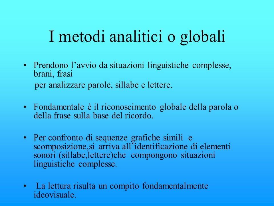 I metodi analitici o globali Prendono lavvio da situazioni linguistiche complesse, brani, frasi per analizzare parole, sillabe e lettere. Fondamentale
