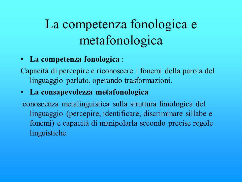 La competenza fonologica e metafonologica La competenza fonologica : Capacità di percepire e riconoscere i fonemi della parola del linguaggio parlato,