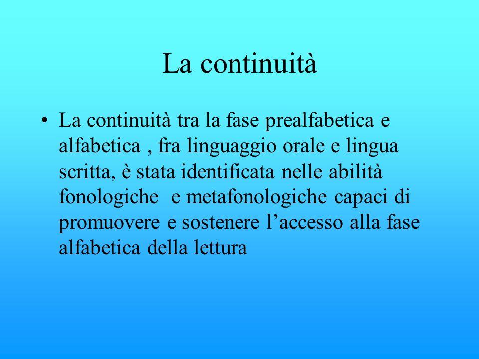 La continuità La continuità tra la fase prealfabetica e alfabetica, fra linguaggio orale e lingua scritta, è stata identificata nelle abilità fonologi