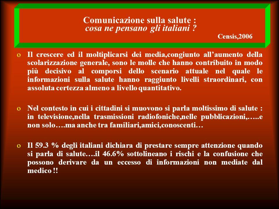 Comunicazione sulla salute : cosa ne pensano gli italiani ? Censis,2006 oIl crescere ed il moltiplicarsi dei media,congiunto allaumento della scolariz