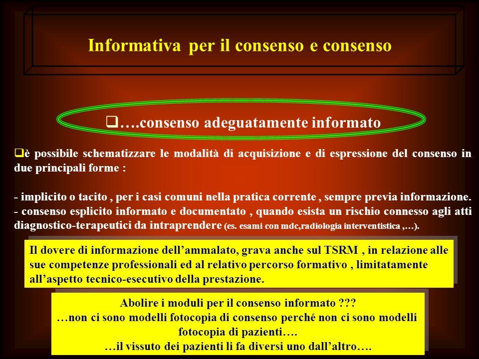 Informativa per il consenso e consenso ….consenso adeguatamente informato è possibile schematizzare le modalità di acquisizione e di espressione del c