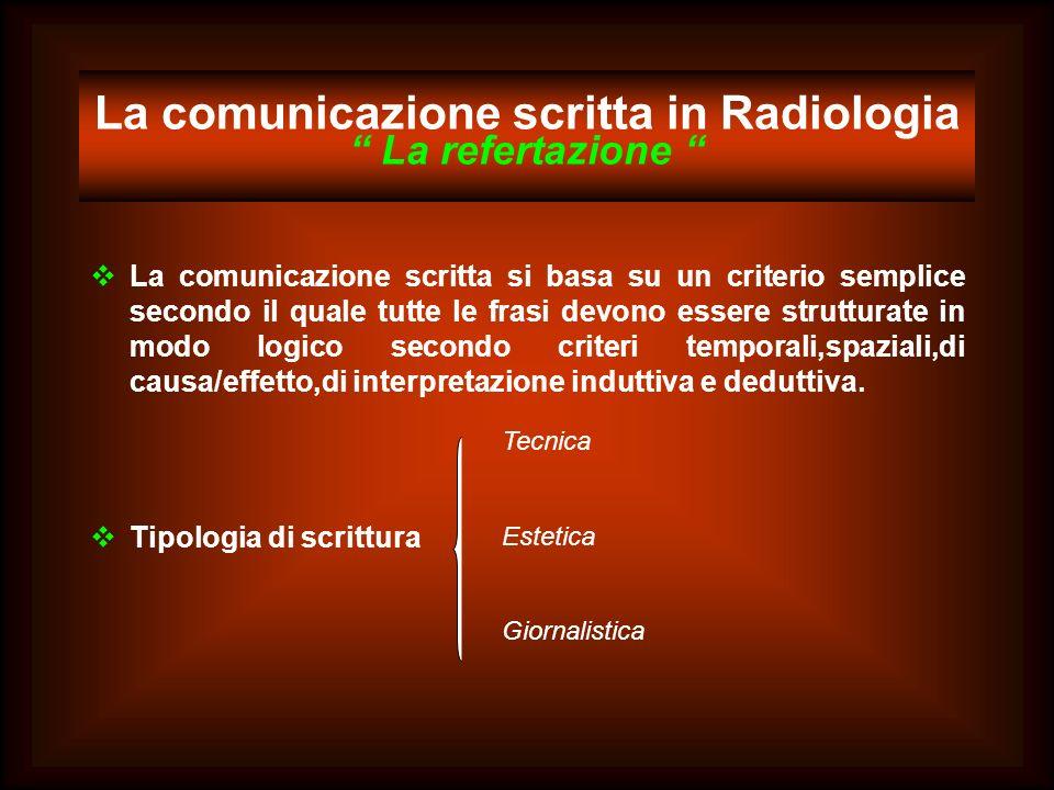 La comunicazione scritta in Radiologia La refertazione La comunicazione scritta si basa su un criterio semplice secondo il quale tutte le frasi devono